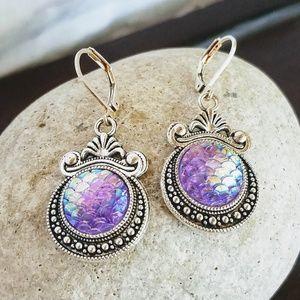 Nickel-free Lavender Mermaid-Scale Earrings
